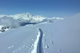 Fresh ski tracks in La Plagne