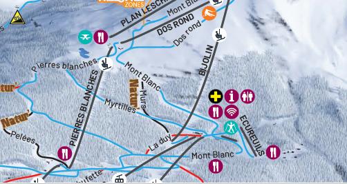 New La Plagne piste map showing Myrtilles piste