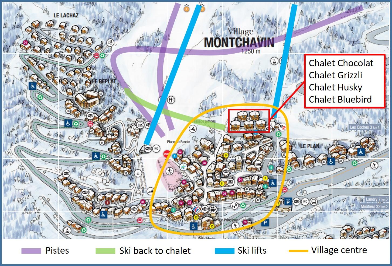 Montchavin village map